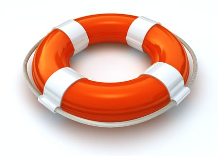 lifebuoy: 3d image of a lorange and white lifebelt