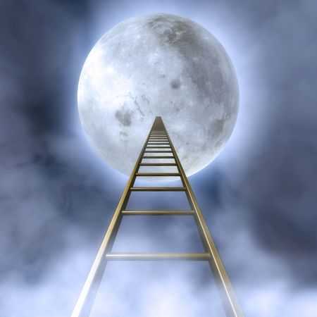 towards: Fantasy Illustration of a cloudy night sky with a stair towards the moon