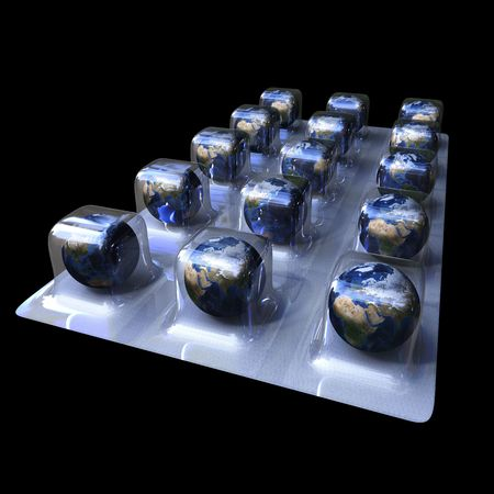 3d image of pills of earth isolated on black background
