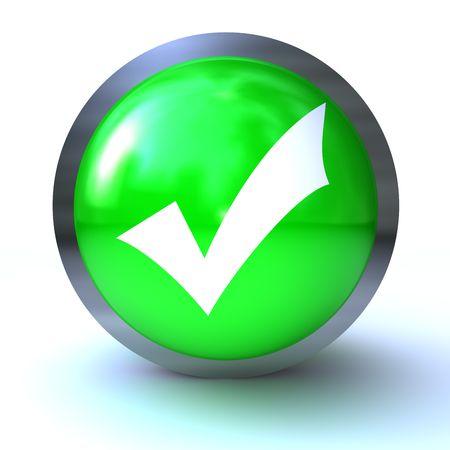 checkmarkl green button  isolated on white background Stock Photo - 6382609