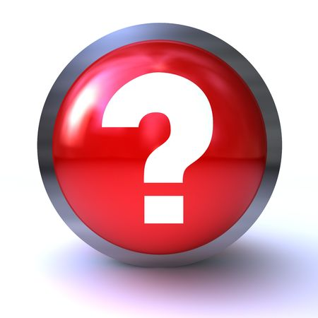 question mark red button  isolated on white background Stock Photo - 6382601