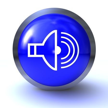 isolated blue glossy button on whote background Stock Photo - 6382629