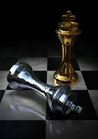 golden and silver kings on a chess board photo