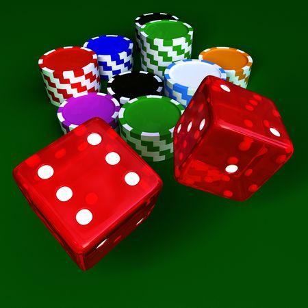 Casino chip e trasparente dices rosso sul tavolo verde
