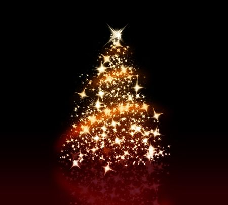 star dust: Glowing Christmas tree with a lot og glittering sparks