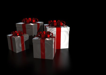 Lot of presents  with  a shiny red ribbon isolated on black reflective background  photo