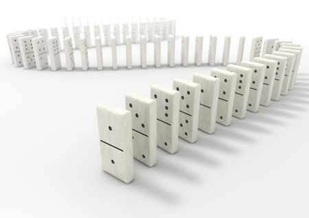 long life: Long curve path of domino pieces on white background