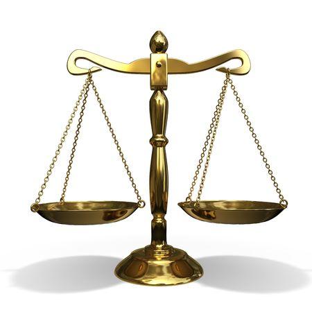 balanza en equilibrio: equilibrio aislado de oro sobre fondo blanco