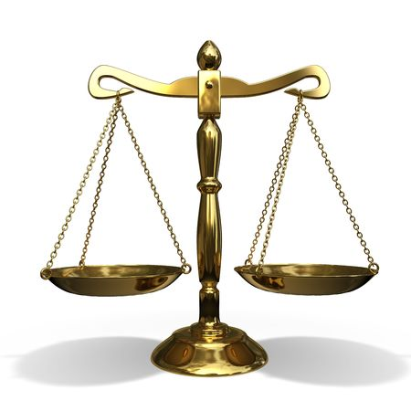 justice scales: isolated gold balance on white background