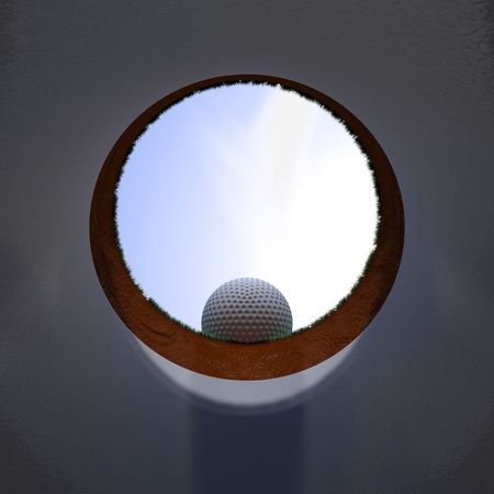 Inside view of an hole with a ball on the edge photo