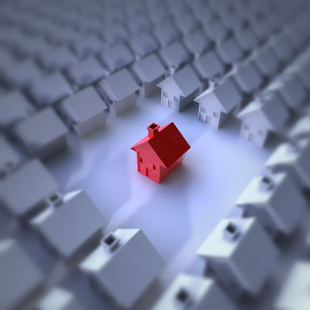 rendering of a lot of houses and a red hous in the middle Stock Photo