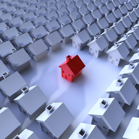 sell house: rendering of a lot of houses and a red hous in the middle Stock Photo