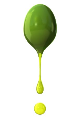 strained: Green olive with drops of oil isolated on white background