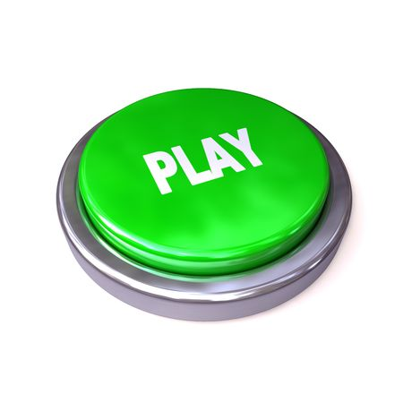 powerbutton: bot�n de play verde aislado sobre fondo blanco  Foto de archivo