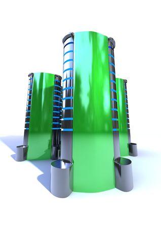 futuristic metallic server case isolated on white background photo