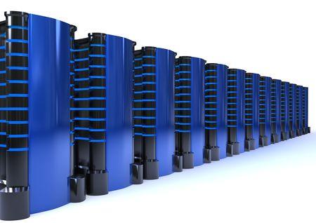 futuristic metallic servers case isolated on white background photo