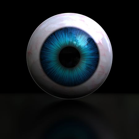 wide open: islated, 3d blue eye on black background