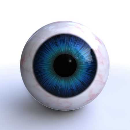 wide open: islated, 3d blue eye on white background
