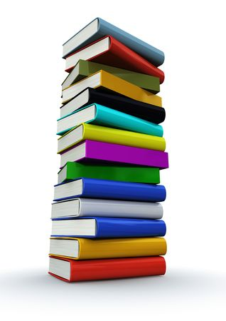 3d render of a colorful tower of books isolated on white background Stock Photo