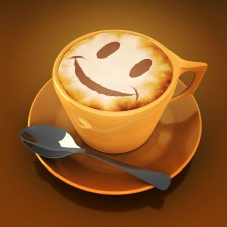 capuchino: cappuccino feliz con la cara sonriente