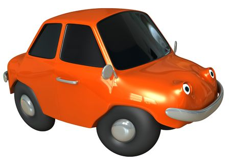 isolated 3d orange toon car photo
