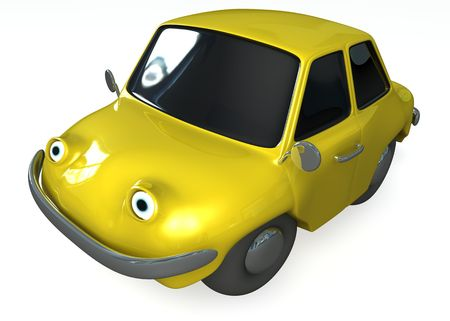 isolated 3d yellow toon car photo