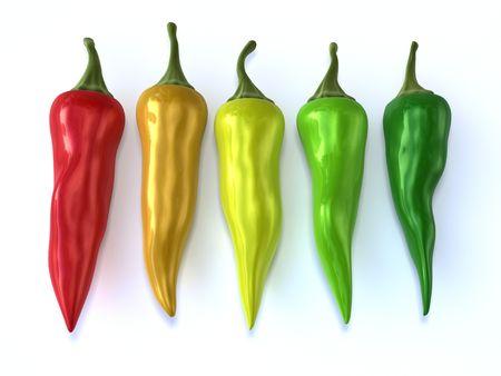 colorful chilis isolated on white background photo