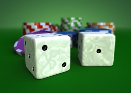colorful chips on a green table with closeup of two white ivory dices Archivio Fotografico