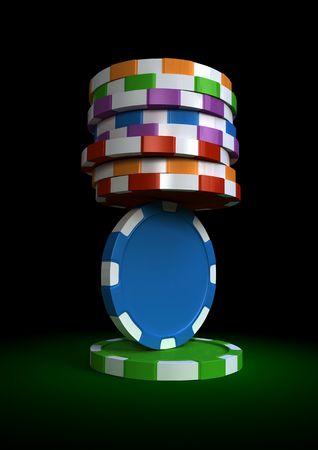 rendering 3D di chip in equilibrio su un tavolo verde
