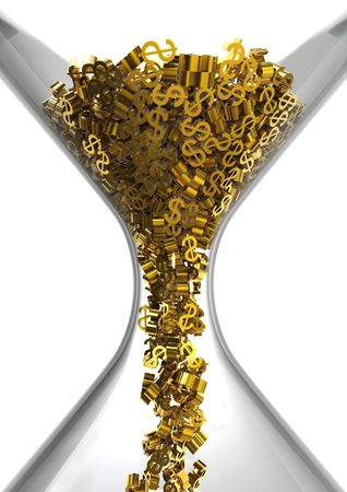 rendimento: Hourglass with dollars isolated on white, time is money concept