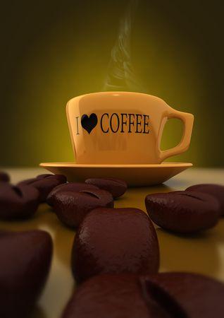 blackout: 3D rendering van koffie kopjes koffie bonen