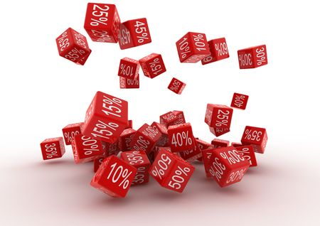 Falling Percent Red Cubes Stock Photo - 6913704