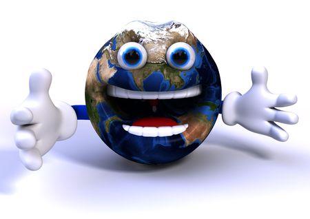 happy planet earth: Dibujos animados 3d aislados sobre fondo blanco de la tierra