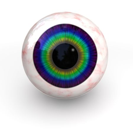 orbital: isolated 3d colorful eye on white background