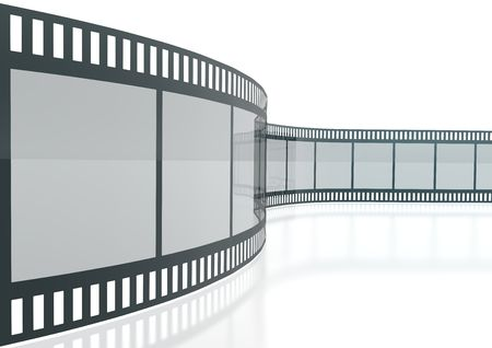 Wavy Film Strip Isolated On White Background Stockfoto