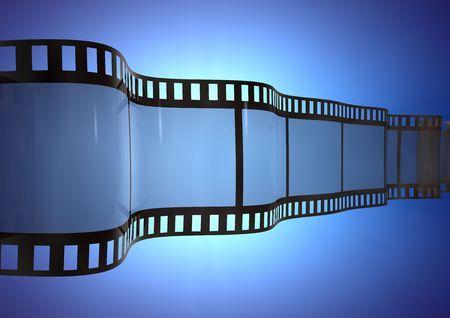 Wavy Film Strip on blue lighted background photo