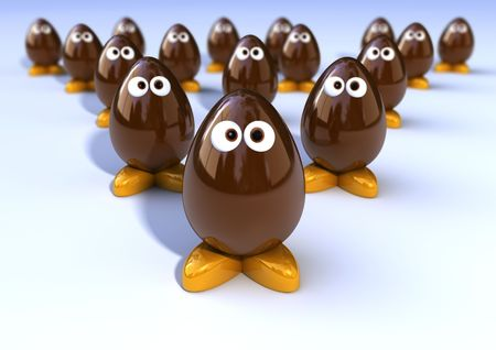 Funny chocolate eggs 3d character photo