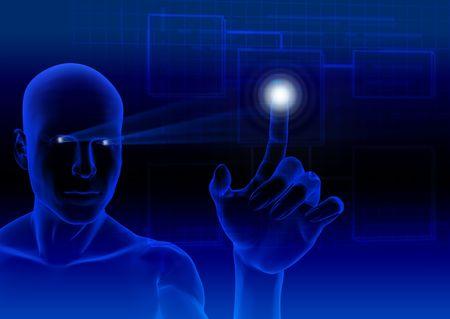 web robot: Humanoid touching a blue virtual screen