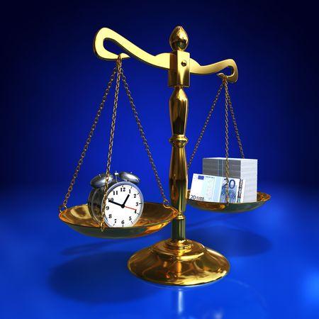 golden balance. Time is money Stock Photo