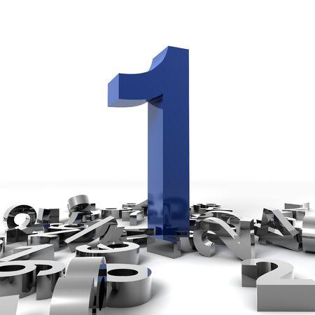 numero uno: 3D numero uno isolato su sfondo bianco