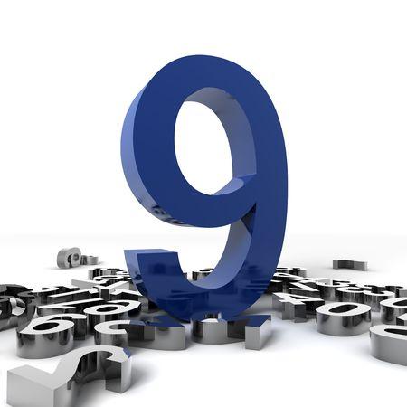 number nine: 3D n�mero nueve aislados sobre fondo blanco  Foto de archivo