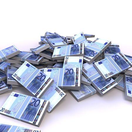 mucho dinero: billetes de 20 euros  Foto de archivo