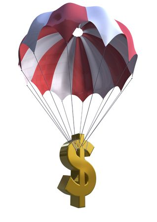 3d dollar with parachute isolated on white background photo