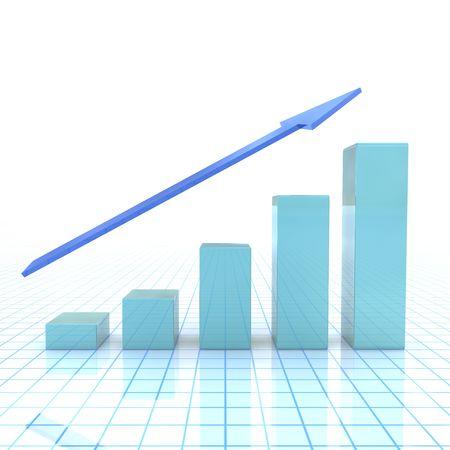 shiny blue graph with arrow Standard-Bild