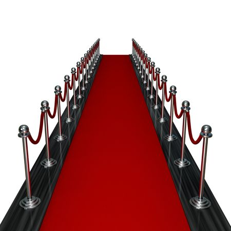 3d render red carpet entrance isolated on white background photo