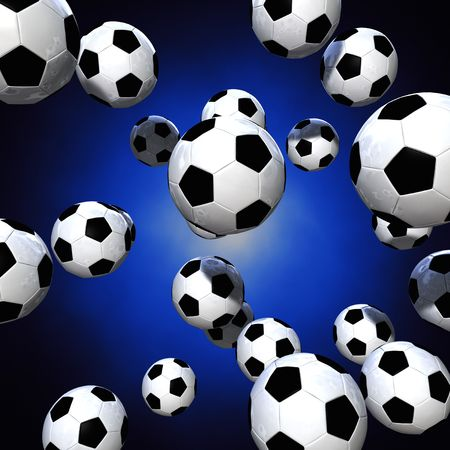 world  hexagon: 3d rendering of a lot of soccer balls over a blue glow background Stock Photo