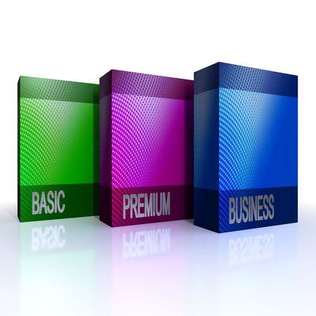 ebox: pacchetti di software colorato isolati su sfondo bianco Archivio Fotografico