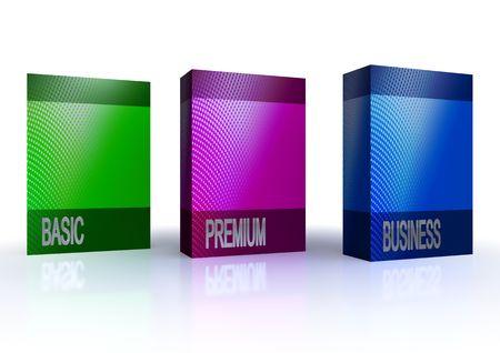 ebox: pacchetti di software colorato isolati su sfondo bianco