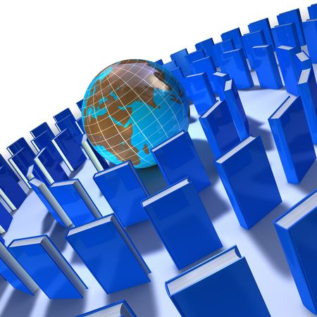 ebox: circle of blue books around the world Stock Photo