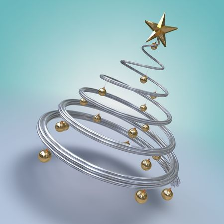 3d render of a metallic spiral modern tree with golden balls and a star photo